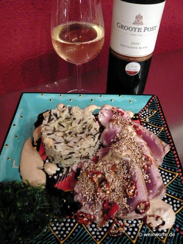 Groote Post Sauvignon Blanc mit Thunfisch