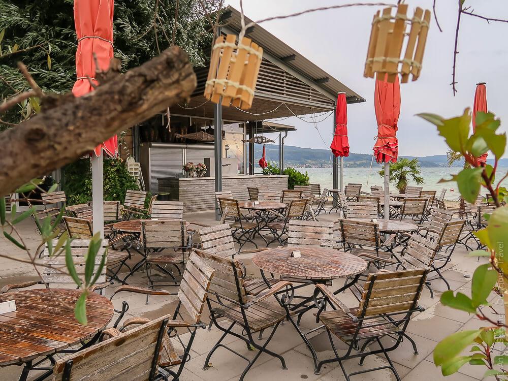 Bistro-Terrasse auf dem Campingplatz Sandseele auf der Insel Reichenau