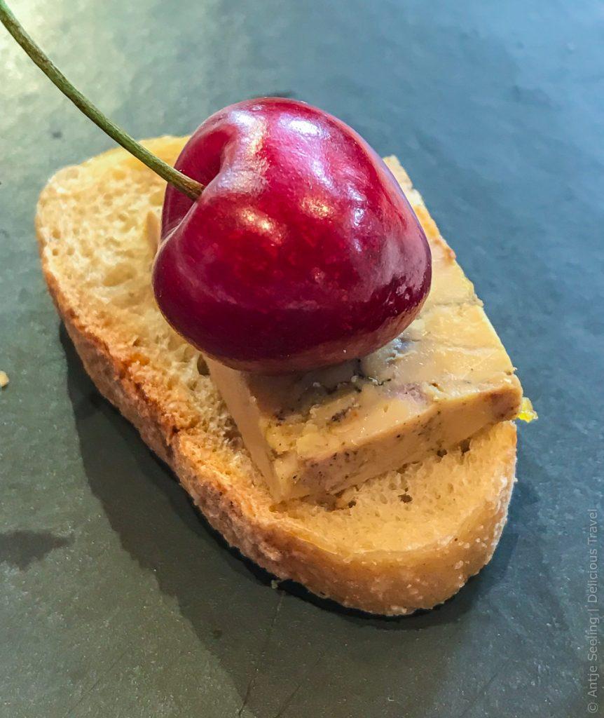 Foie gras mit Kirsche passt perfekt zum Süßwein Jurancon