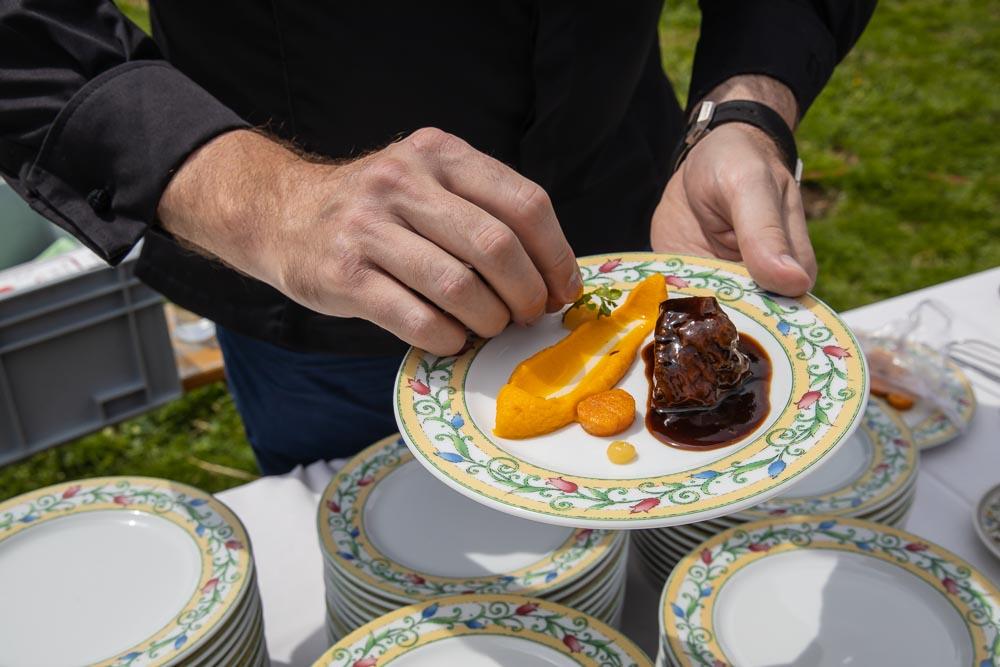 Das Gericht von Tristan Brandt: Kalbsbäckchen mit Süßkartoffeln und Ingwer
