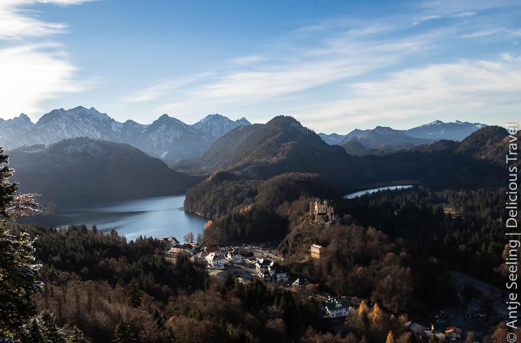 Alpsee von oben mit Schloss Hohenschwangau